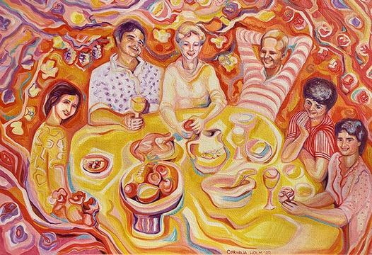 As a family we always made sure that we spent time together around the dinner-table, sharing details of our day. This painting was done by a family friend, Cornelia Holm, depicting this happy tradition